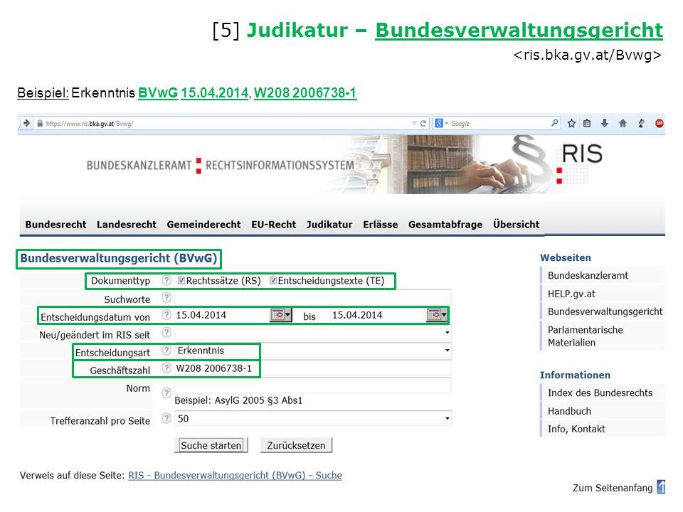 [5] Judikatur – Bundesverwaltungsgericht <ris.bka.gv.at/Bvwg>